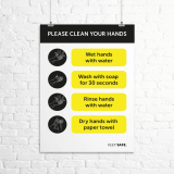 "A3 ""Please Clean Your Hands"" instructional poster"