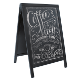 Black wooden chalk sandwich board