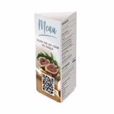 Three Sided Acrylic Menu Holder with QR code menu insert