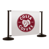 Black cafe banner system with printed cafe banner barriers