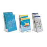 Two tier leaflet holder with A4, 1/3 A4 and A5 leaflet holders available