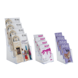 Four tier leaflet holder for both wall mounting and counter standing