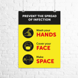 "A3 ""Hands, Face, Space"" poster"