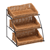 Counter Top Three Tier Wicker Basket Display