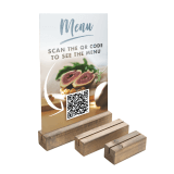 Wooden Card Holder Base with QR code menu insert