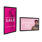 Wall mounted digital advertising screen in portrait or landscape
