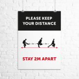 "A2 ""Ministry of Silly Walks"" social distancing poster"