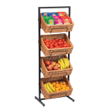Floor Standing Wicker Basket Four Tier Display