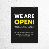 "A4 ""We Are Open. Welcome Back."" poster"