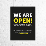 "A3 ""We Are Open. Welcome Back."" poster"