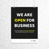 "A3 ""We Are Open For Business"" poster"