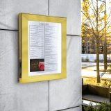 Outdoor menu display case with LED lighting