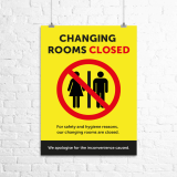 "A3 ""Changing Rooms Closed"" poster"