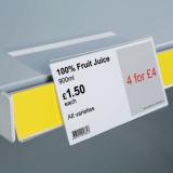 Angled Shelf Talker with Adhesive Return