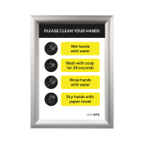 A4 Silver Snap Frame with Please Clean Your Hands poster