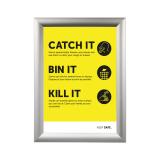 A4 Silver Snap Frame with Catch It, Bin It, Kill It poster