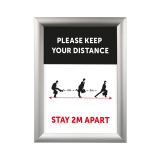 "A4 Silver Snap Frame with ""Ministry of Silly Walks"" social distancing poster"