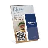 A4 Poster Holder with Leaflet Dispenser and QR code menu insert