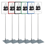 Showcard stands are poster stands in a variety of sizes and colours