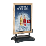 Water Base Pavement Sign with Wooden Poster Holder