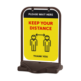 "Black Swinger with ""Please Wait Here"" branding"