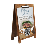 Wooden A Frame Clipboard Menu Holder with QR code menu insert