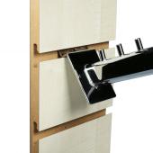 Slatwall Waterfall Arm Rail easily slots into slatboard panels