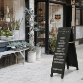 Use an A frame chalkboard to display offers and menus to passersby