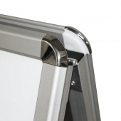 The A Board Header has curved corners for safety and style