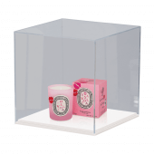 An acrylic display case with white base. This acrylic display box comes in 3 sizes