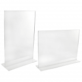 Acrylic sign holder - free standing and double sided