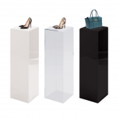 Display plinth available as a clear, black or white display pedestal