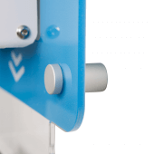 Wall mounted hand sanitiser unit uses satin anodised standoffs