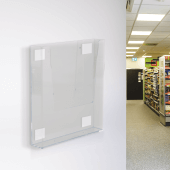 Foam adhesive pads to wall mount leaflet holders
