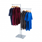 Two arm clothes rail display stand for displaying garments for retail