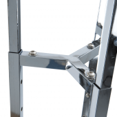 The clothing display stand has a sturdy centre to support three arms