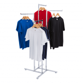 Retail clothing display racks with straight arms