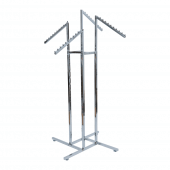 Four arm clothes rack with sloping arm rails