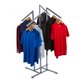 Retail clothing display racks with sloping arms