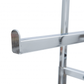 Raised edges at the end of each rail prevents clothes hangers falling