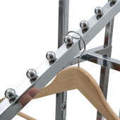 Sloping arms have ten ball stops each to keep hangers in place
