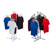 Clothes rail display stand with straight or sloping arms
