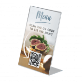 Freestanding Single Sided Acrylic Poster Holder with QR code insert