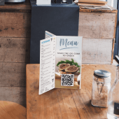 Six Sided Menu Holder used in a cafe