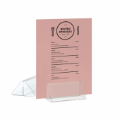 Acrylic showcard holder for promotions or menus