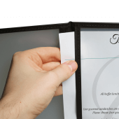 American style menu holder with clear plastic pockets