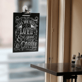 Chalkboard Window Display with Bulldog Clip