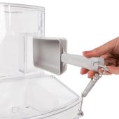 Scoop bin food dispenser with removable scoop holder