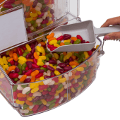 Scoop bin food dispenser is ideal for dry food and sweets