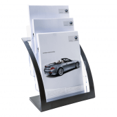 A4 Black Contemporary Three Tier Magazine Holder